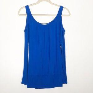 Boston Proper Cold Shoulder Shirt Womens XS Blue